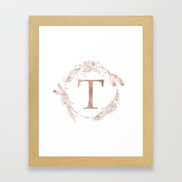 Letter T Rose Gold Pink Initial Monogram Framed Art Print