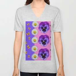 PINK-LILAC & PURPLE PANSY DAISY SPRING FLOWERS Unisex V-Neck