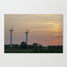 ad solis occasum ventus turbines ab Horumersiel Canvas Print