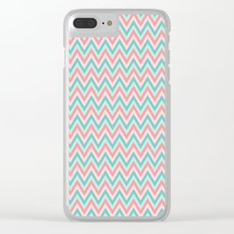 Pink & Blue Chevrons Clear iPhone Case