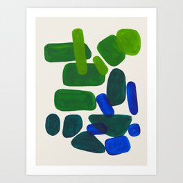 Minimalist Modern Mid Century Colorful Abstract Shapes Phthalo Blue Lime Green Gradient Overlapping Art Print