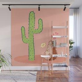 I like you! - Hedgehog & cactus love illustration Wall Mural
