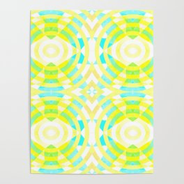 Funky geometry in yellow and blue Poster