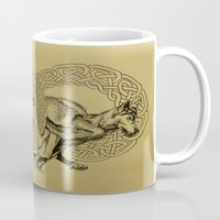 celtic Mugs featuring Celtic Wolves by Rachel Hoffman