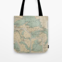 Vintage Great Lakes Lighthouse Map (1898) Tote Bag
