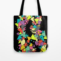 triangles Tote Bags featuring Triangles  by AtomicChild