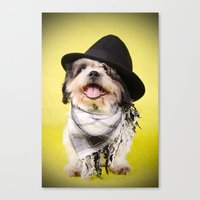 shih tzu Canvas Prints featuring Shih Tzu by Jessica Glonek