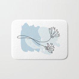 Minimalist corn flower on pastel blue FLO02 Bath Mat