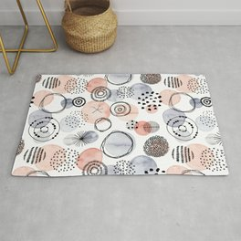 Watercolor Circles   Coral and Grey Palette Rug
