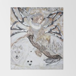 Snow Angels Throw Blanket