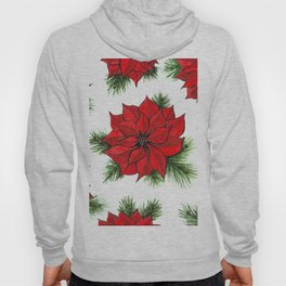 Poinsettia and fir branches pattern Hoody