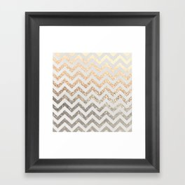 GOLD & SILVER CHEVRON Framed Art Print