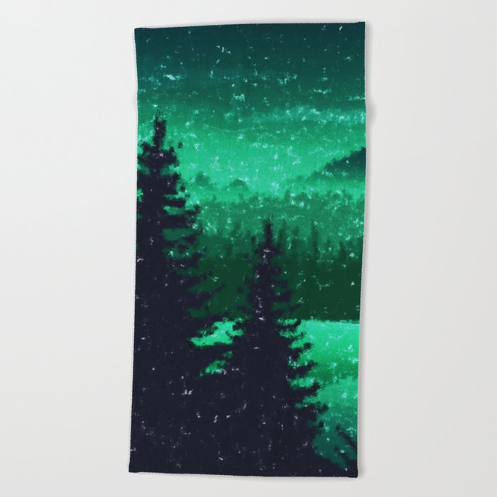 Snowing in the forest Beach Towel