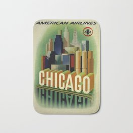 Chicago, American Airlines - Vintage Poster Bath Mat