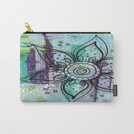 Teal Flower Carry-All Pouch