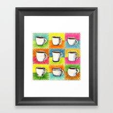I drew you 9 little mugs of coffee Framed Art Print