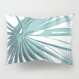 Teal Aqua Tropical Beach Palm Fan Vector Pillow Sham