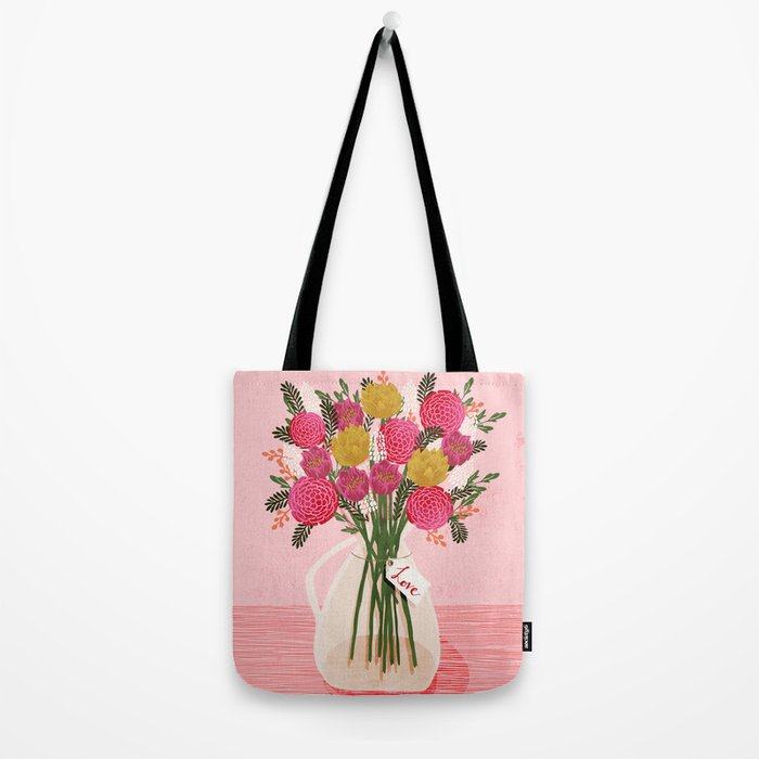 Valentines Day Bouquet floral vase flower by Andrea Lauren  Tote Bag
