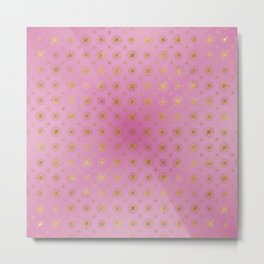 Golden Star Burst Passion Pink Metal Print