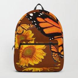 MONARCH BUTTERFLIES & GOLDEN SUNFLOWERS ON COFFEE BROWN Backpack