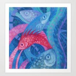 The Spawning, underwater art, pink & blue fish Art Print