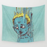 propaganda Wall Tapestries featuring The Blue Boy with Golden Hair by Dr. Lukas Brezak