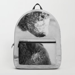 Alaskan Grizzly Bear in Snow, B & W - I Backpack