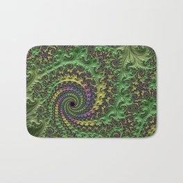 Spiraling Swirling Elegant Amazing Feather Psychedelic Fractal Art Green Purple Colorful Beautiful Bath Mat
