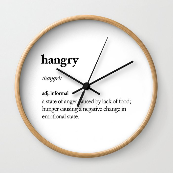 Hangry black and white contemporary minimalism typography design home wall decor bedroom Wall Clock