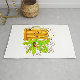 Happy Couple Wasted Funny Beer Mug and Cannabis Leaf Rug