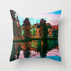 village on the lake Throw Pillow