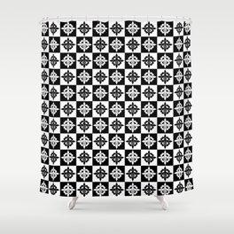 Nola fleur de lis checkered Shower Curtain