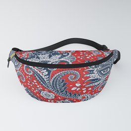Red White & Blue Floral Paisley Fanny Pack
