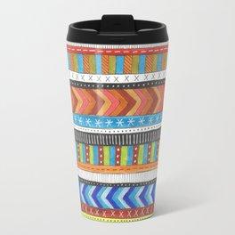 brightly colored patterned stripes Travel Mug