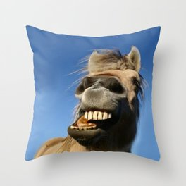 Happy Horse Photography Print Throw Pillow