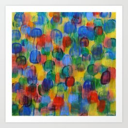 Abstract Color Art with Brushstrokes in Red, Blue, Yellow, Green Art Print