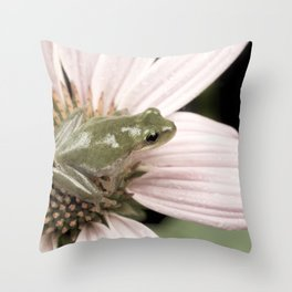 Treefrog on flower Throw Pillow