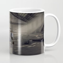 Couple in a Train Station Coffee Mug