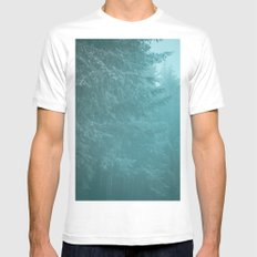 Forest Fog - Green Trees with Snow in the Pacific Northwest MEDIUM Mens Fitted Tee White