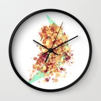 jennifer lawrence Wall Clocks featuring Jennifer Lawrence by Rene Alberto