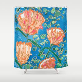 Four Orange Proteas Shower Curtain