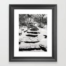 Snowy Stairs Framed Art Print