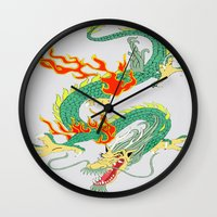 chinese Wall Clocks featuring Chinese Dragon by J&C Creations