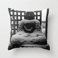 buddah Throw Pillows featuring Snowy Buddah by Nearlycanadian