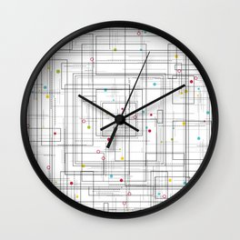 Colorful abstract geometric pattern with color dots Wall Clock