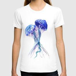 Jellyfish, Aqua Blue Marine Beach Art T-shirt