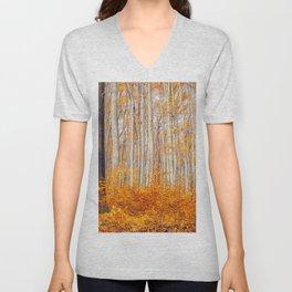 Golden Autumn Forest (Color) Unisex V-Neck