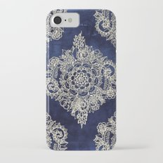 Cream Floral Moroccan Pattern on Deep Indigo Ink iPhone 7 Slim Case