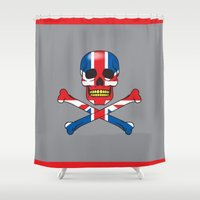 uk Shower Curtains featuring Skull UK by Pleasure Time