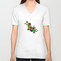 roller derby V-neck T-shirts featuring Roller Derby Dinosaurs by Jez Kemp